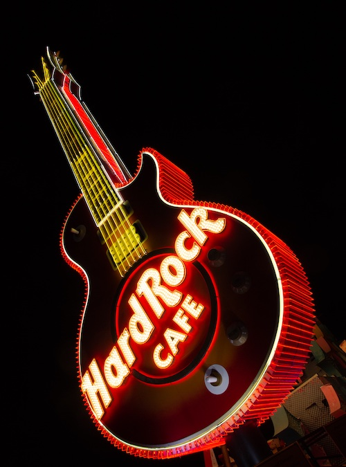 Restored Hard Rock Cafe guitar on display at The Neon Museum