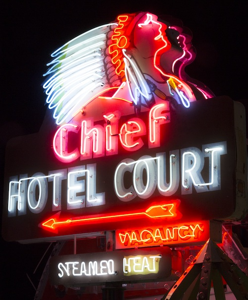 Chief Hotel Court sign at The Neon Museum