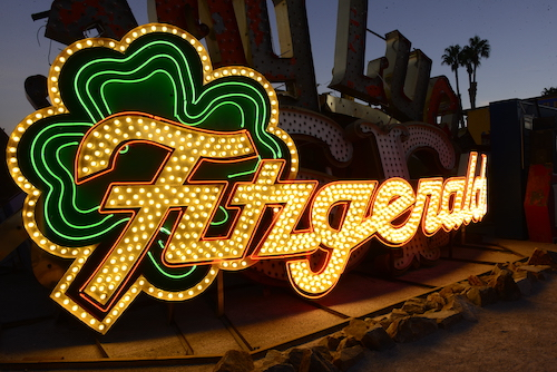 Fitzgeralds sign shining in The Neon Museum