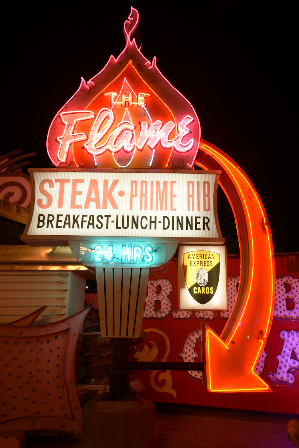 The Flame neon sign at The Neon Museum
