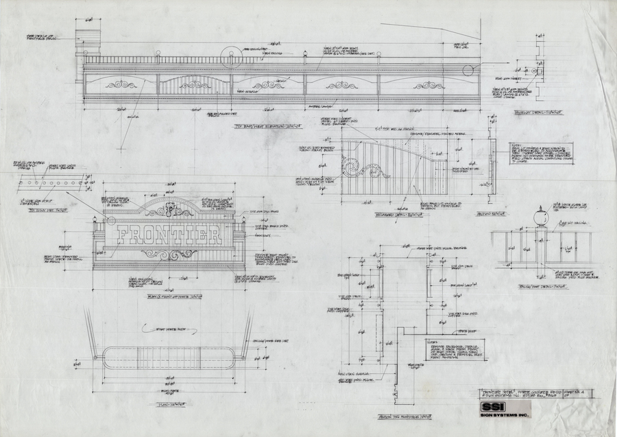 "Frontier Technical drawing by Brian ""Buzz"" Leming, Federal Heath Collection, 1988"