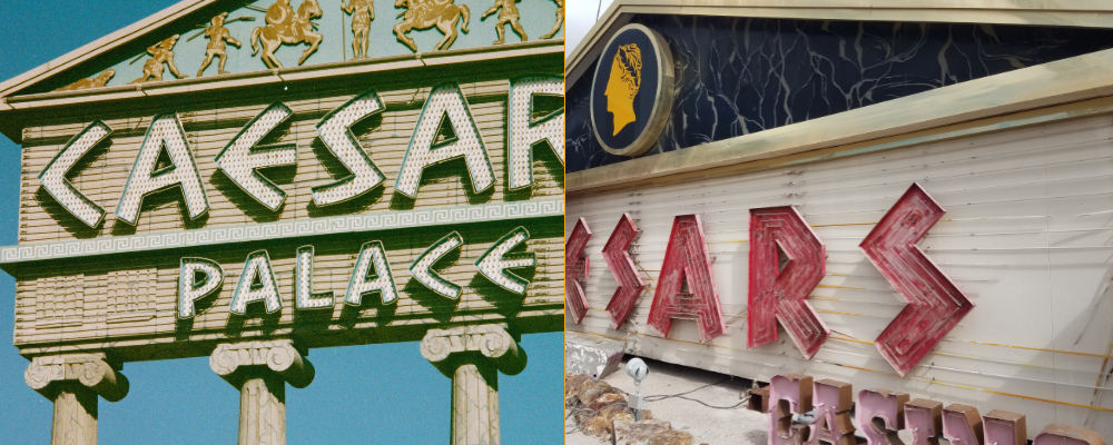 Caesars Palace signs side by side
