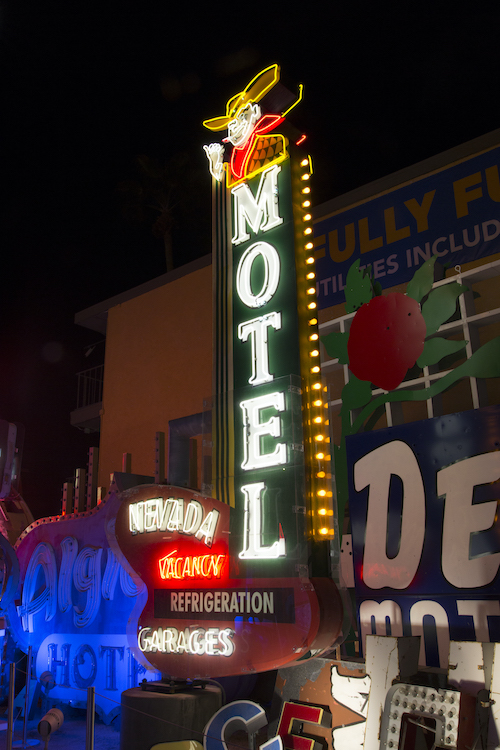 Nevada Motel sign on display at The Neon Museum