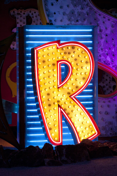 Sahara R neon sign at The Neon Museum