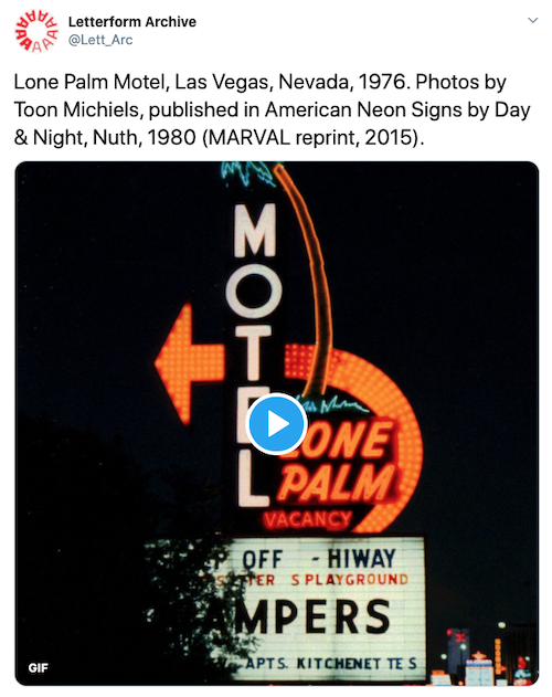 lone palm motel image by toon michiels tweeted by letterform archive