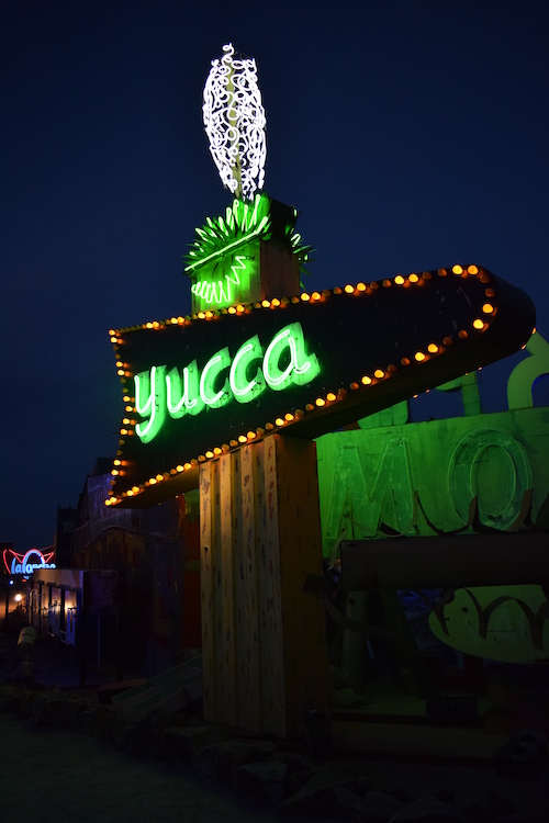 Yucca Motel sign restored and on display at The Neon Museum