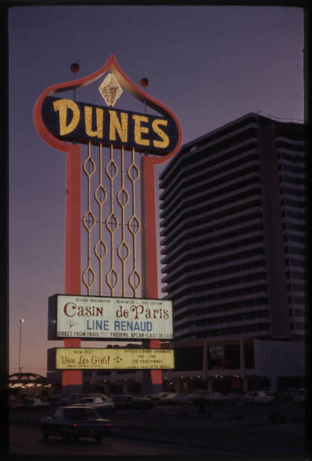 Dunes pylon sign, UNLV Digital Collections, Culinary Workers Union Local 226 collection