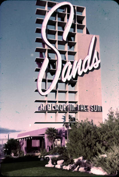 Slide of the Sands Hotel sign, Las Vegas, circa 1950s-1960s