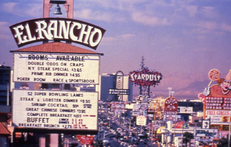 Slide of the El Rancho marquee and neon signs on Las Vegas Boulevard, Las Vegas, Nevada, 1986