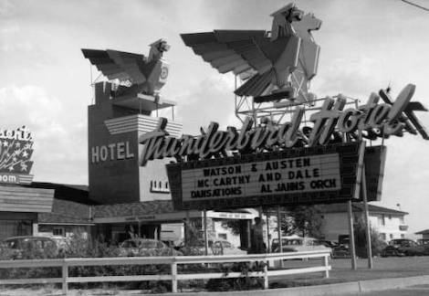 Photograph of the neon sign of the Thunderbird Hotel (Las Vegas), 1948