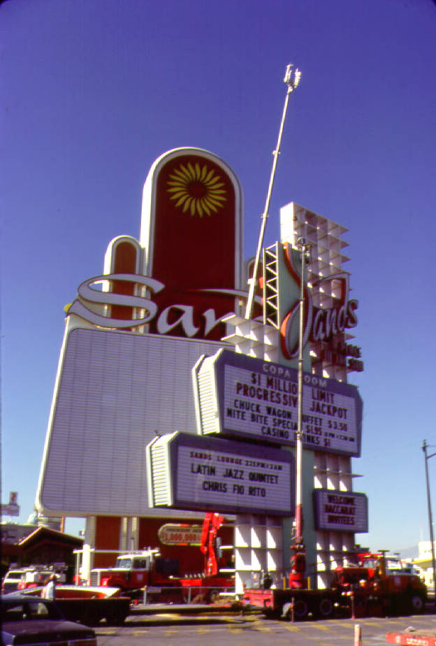 Photograph of old sign for the Sands Hotel being replaced by a new sign (Las Vegas), circa 1981