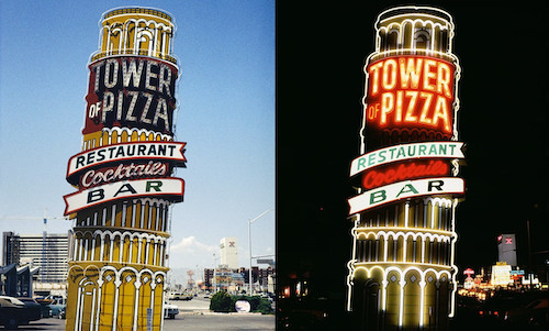 Tower of Pizza, Las Vegas Strip, May 1979 by Toon Michiels from American Neon Signs by Day & Night